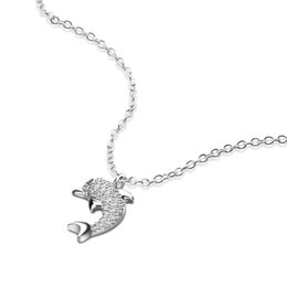 silver dolphin chains NZ - Fashion cute dolphin pendant chain For Women 925 sterling silver Chain Choker Necklaces Charm exquisite silver jewelry gifts