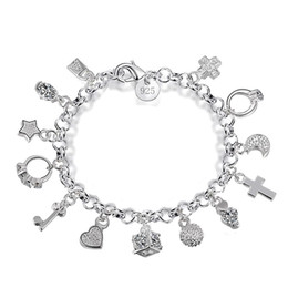 Sterling Silver Cross Charms Wholesale Australia - New 925 sterling silver chains bracelets Key lock Cross Rings Star Moon Love Heart charm Lobster clasp bangle For women Fashion Jewelry
