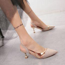 $enCountryForm.capitalKeyWord Australia - Hot2019 High-heeled Sharp Paillette Shoes Cat Split Joint All-match Fine With Back Air Set Foot Sandals