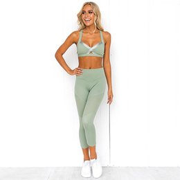 sports mark UK - 2019 Women Sports Fitness Suit Sets Yoga Sexy Back Cross Bandage Top And Mesh Patchwork Leggings 2 Piece Set Gym Set Tracksuits #955004