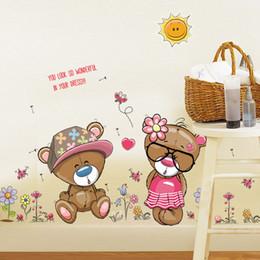 Girls Nursery Wall Stickers Australia - Cute pink animal love bear flower butterfly baby kids bedroom room decor wall stickers kids nursery decal sticker girl gift