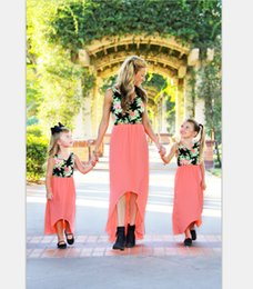 girl skirt mother NZ - Hot sale Parents and Children Colour Matching Europe and America Printing Digital Printed Dresses and Skirts Parent-child dress