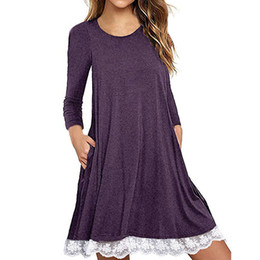 Wholesaler For Plus Size Dresses UK - 2019 Women's Long Sleeve Cotton Lace T Shirt Dress With Pockets Loose Casual O-Neck Plus Size Dresses For Women Vestidos