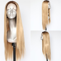 halloween lace wig NZ - Fashion Halloween Hand Tied Silky Straight Ombre Brown Roots To Blonde Wigs Full Density Gluless Synthetic Lace Front Wigs for Daily Wear