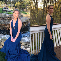 Burgundy Evening Gowns Mother Bride Australia - 201 Sexy Blue Sheath Party Halter Prom Dress Sweep Beads Sleevlese Vestidos De Novia Mother Of The Bride Dress Evening Party Gown
