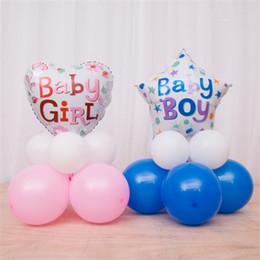 Boy Girl Baby Shower Decorations Australia - Baby Girl Boy Shower Balloons Pink Blue Heart Five Pointed Star Shaped Aluminum Film Balloon Children Birthday Party Decoration 4 5chD1