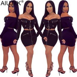 AIUJXK Donna Set due pezzi Nuova manica lunga Sexy Off spalla senza spalline Zipper Bodycon 2 pezzi Gonna Donna Abiti Abiti casual in Offerta