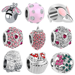 Kostenloser versand 1 stück europa silber biene maus apple owl bogen perlen passen original pandora charm armband schmuck diy machen geschenke n151