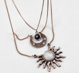 Pendant Designs For Gems Australia - Multi Layer Necklace Sun Moon Necklace Gem Pendants Fashion Pendants For Women Gold Silver Chunky Chain 3 Designs Accessories Handmade