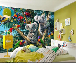 Kids Wallpaper Stickers Australia - custom size 3d photo wallpaper kids room living room mural forest parrot koala oil painting sofa TV backdrop wallpaper non-woven sticker