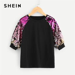 Half Children Shirts Australia - Shein Black Turtleneck Casual Kids Sequin T Shirt Tops Spring Korean Fashion Half Sleeve Children Girls Shirts Tee Q190523