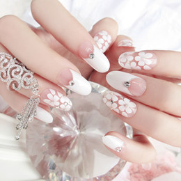 long french tip nails 2019 - false 2017 New French 24pcs White Flower Transparent Square False Long Full Artificial Nails with Diamond Faux Ongle Nat