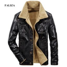 $enCountryForm.capitalKeyWord NZ - FALIZA Mens Leather Jackets Winter Mens Faux Leather Coat PU Pilot Fur Coat Men Motorcycle Jackets with Pockets JK143