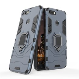 $enCountryForm.capitalKeyWord Australia - Hybrid Armor Case For Huawei Y6 2018 Cover Hard Shield Soft Silicone Edge with Metal Finger Ring Holder Stand Foldable