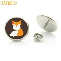 pet dog glasses NZ - TAFREE 2018 new handmade fox animal stud earrings vintage pet dog silhouette art glass cabochon women charms ladies gifts D1025