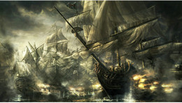 $enCountryForm.capitalKeyWord Australia - Best gift Artwork Fantasy Pirates Ship Boat Sailing Seascape Oil Painting Printed On Canvas Living Room Bedroom Wall Picture Art Home Decor