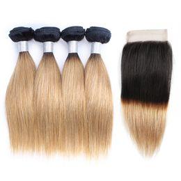 Dark root human hair online shopping - 1B27 Ombre Honey Blonde Hair Bundles With Closure Dark Roots g Bundle Inch Bundles Brazilian Straight Human Hair Extensions