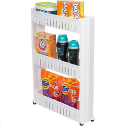 Racks Wheels Australia - New Multipurpose Kitchen Shelf Bathroom 3 Layers Storage Rack with Removable Wheels Multi-layer Refrigerator Side Shelf Gap Storage Shelf