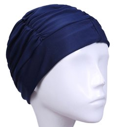 women swim bathing caps 2019 - Hot Womens 1Pc Drape Stretch Seaside Fold Swim Hat Lady Girls Long Hair Swim Cap Stretch Hat Drape Bathing Swimming Cap