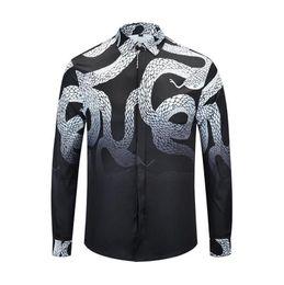 Discount python shirt - Brand clothes Python shirts men long sleeve boa black blouse designer snake tops business dress shirts