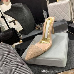 crystal box office Canada - Womens transparent high-heeled sandals, inlaid crystal pointed stiletto sandals, fashion trend business shoes With original box Size 35-39