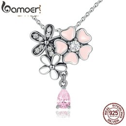 $enCountryForm.capitalKeyWord Australia - Bamoer Original 925 Sterling Silver Pink Heart Blossom Cherry Flower Pendants & Necklaces Women 45cm Kolye Jewelry Scn046 MX190730