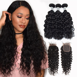 smooth soft hair UK - VIYA Water Wave Human Hair Weave Bundles With Swiss Lace Closure Peruvian Remy Hair No Tangle Soft And Smooth