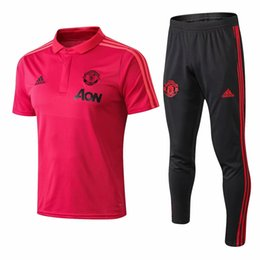 Wholesale united tracks online – oversize Best quality new season Man United polo lapel short sleeved training shirt Man United polo football track and field training suit