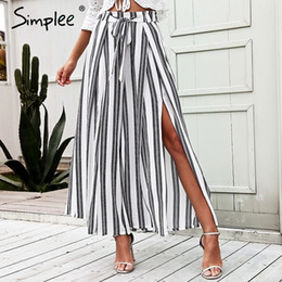 Side Split Trousers Australia - Simplee High Waist Loose Striped Summer Pants Plus Size Sexy Side Split Women Pants Elastic Cotton White Wide Leg Trousers 2018 Y190430
