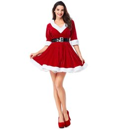 Red Uniforms UK - Wholesale Red Green Christmas V-neck European American new party Christmas dress party girl role playing uniform dress