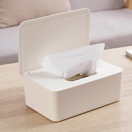hanging clothes boxes UK - Plastic Wet Wipes Dispenser Dustproof Tissue Box Holder With Lid Wet Wipes Storage Box Refillable Container Home Decoration Kitchen Storage