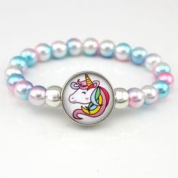 $enCountryForm.capitalKeyWord Australia - Unicorn Beads Bracelets 18mm Snap Holder Buttons Dome Cabochon Flamingos Charms Trendy Jewelry Girls Women Boy Unisex Gift