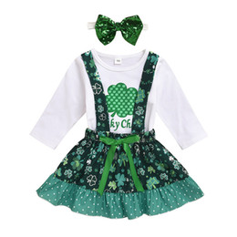 Discount one piece spring suit kids Baby Girls Cartoon Suits 10 Design St. Pattys Day Infant Tops Lucky One Letter Romper Kids Casual Clothes Girls Mesh Ski