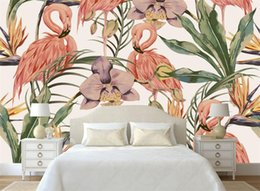 kitchen classics NZ - fashion classic wallpaper simple hand painted tropical rain forest flamingo wallpaper murals background