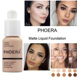 PHOERA Suave Mate Ligero Crema de larga duración Base de maquillaje líquido Cobertura Cobertura Base Natural Oil Control Maquiagem DHL libre en venta