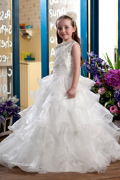 $enCountryForm.capitalKeyWord Australia - Toddler Formal Flower Girl Dresses For Vintage Wedding Knee Length Beaded Corset Back Baby Kids First Communion Dresses Lace