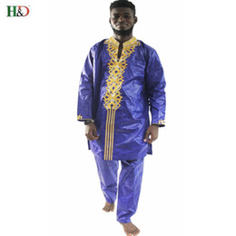Wholesale top traditional dress resale online - H D african clothes dashiki traditional mens african clothing long sleeves bazin riche men africa dress tops pant PH29