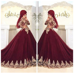 $enCountryForm.capitalKeyWord Australia - Islamic Hijab Muslim Burgundy Wedding Dresses Gold Lace Appliques A Line Long Sleeve High Neck Arabic Tulle Bridal Gowns 2020 Modest