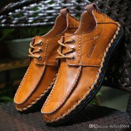 $enCountryForm.capitalKeyWord Australia - top quality genuine leather Designer brand male casual flats shoe cowhide leather Mocassin lace-up or Slip-On men's suit shoe Dress Sho