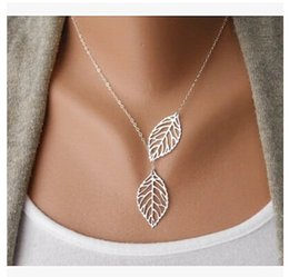 $enCountryForm.capitalKeyWord Australia - Wholesale Love Two Leaves Pendant Chain Necklace For Women Bijoux Collares Jewelry Exo Colar 2019 new Girl One Direction NA607