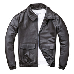 173715eb613 2019 Dark Brown Men USAF Pilot Leather Jacket Plus Size 4XL Genuine  Sheepskin Russian Spring Aviator Leather Coat FREE SHIPPING