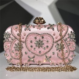 Formal evening clutches online shopping - Bling Pink Bridal Hand Bags Fashion Style Women Wedding Evening Formal Party Clutch crossbody bag Hand Bags For Bride Sparkle Bridal Bags