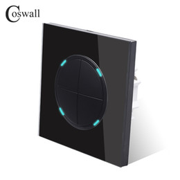 $enCountryForm.capitalKeyWord NZ - Coswall 4 Gang 2 Way Random Click Push Button Wall Light Switch With LED Indicator elegant Black Crystal Tempered Glass Panel free shipping