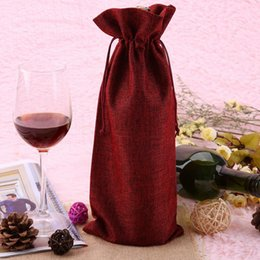 flock fiber NZ - 12Pcs Durable Wine Bags Non-Woven Fabric Linen Red Wine Bottle Glass Bag Travel Pouch Gift Weddings Reusable Weddings Packaging