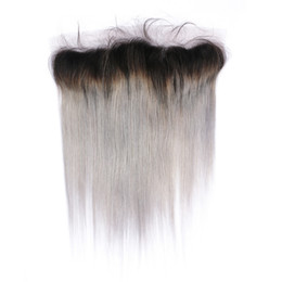 Discount gray ombre virgin hair - Silver Gray Ombre Indian Virgin Human Hair Ear to Ear 13x4 Lace Frontal Straight 1B Grey Ombre Lace Frontal Closure Blea