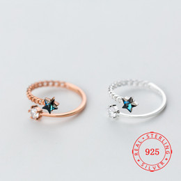 Rhinestone Star Ring Australia - Size 5.5 ~ size 7 fashion s925 sterling silver ring personality blue rhinestone charming star open design little finger ring female jewelry