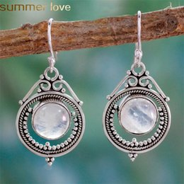vintage tibetan jewelry 2019 - Vintage Ethnic Earrings for Women Moonstone Tibetan Silver Earring Dangle Hook Fashion Jewelry Party New Fashion cheap v