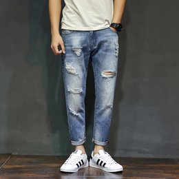 $enCountryForm.capitalKeyWord Canada - Spring and Summer 2019 Broken Nine-cent Jeans Men's Korean Bottom Shoes ripped jeans for men MW313