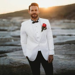 $enCountryForm.capitalKeyWord Australia - Custom Made White Wedding Mens Suits Slim Fit Shawl Lapel Bridegroom Tuxedo For Men Groom Wear Blazer Jacket+Pants Groomsmen Formal Best Man