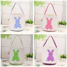 Cute Canvas Handbags Australia - Canvas Easter Basket DIY Rabbit Bags Bunny Storage Bag Cute Burlap Easter Gifts Handbags Rabbit Ears Put Easter Eggs Baskets 2019